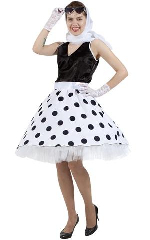 Платье Стиляга чёрно-белая в горох 2