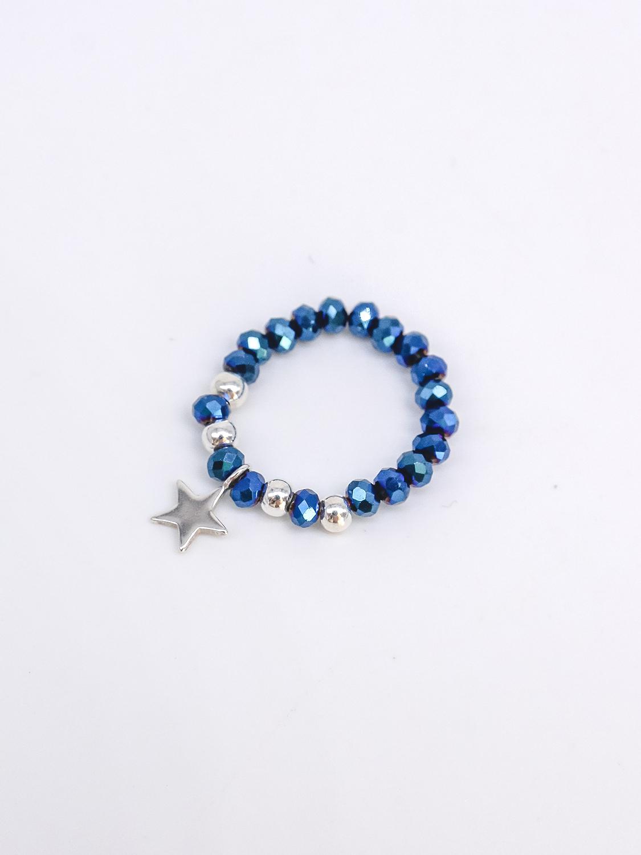 Кольцо из синего хрусталя с подвеской из серебра