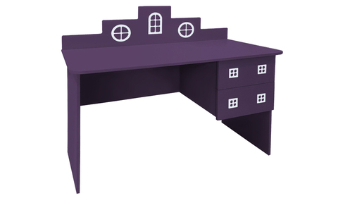 детский письменный стол в виде домика фиолетовый