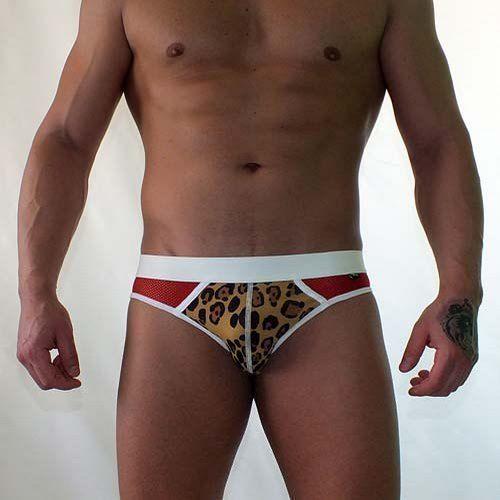 Трусы мужские брифы леопардовые с красной сеткой по бокам Van Baam VB-38129