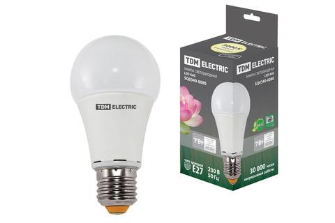 Лампа светодиодная А60 - 7 Вт-220 В -3000 К–E27 TDM