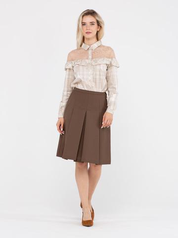 Фото коричневая шерстяная юбка в складку с боковыми карманами - Юбка Б043-349 (1)