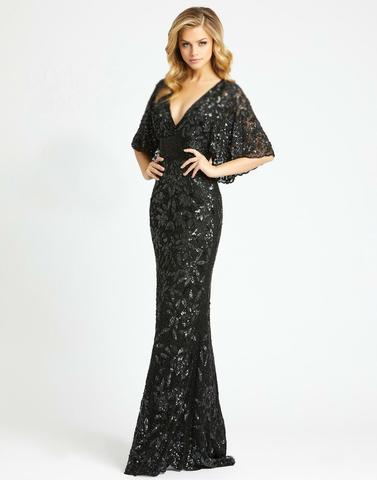 Черное платье в пол вышитое бисером Goddess 25001