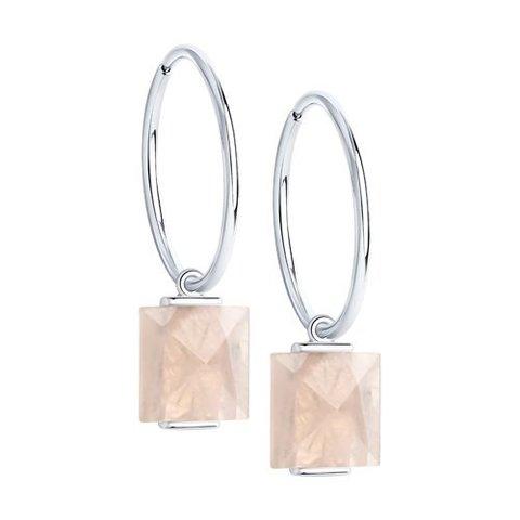 92022342- Серьги-конго  из серебра с подвесками квадратными кварцами