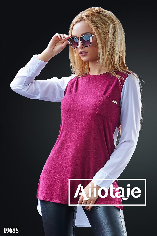 Комбинированная блузка с длинным рукавом