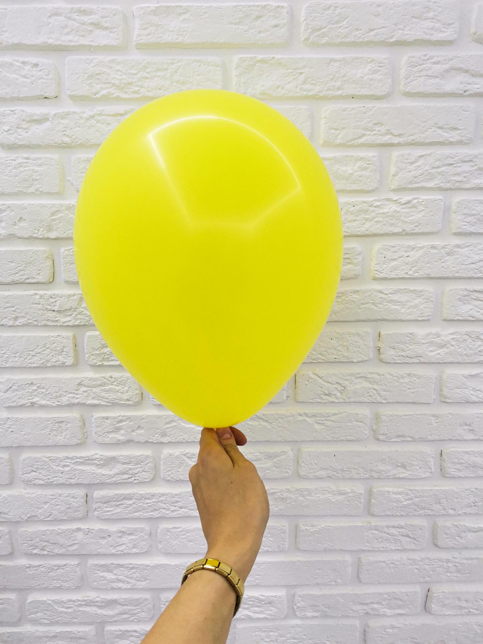 №7 Желтый Гелиевый шар пастель 30см с обработкой