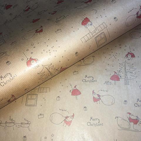 Бумага упаковочная крафт Зарисовки (Италия)