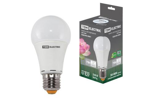 Лампа светодиодная А60 - 7 Вт-220 В -4000 К–E27 TDM