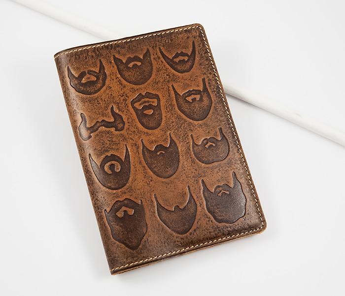 BY14-02-02 Прикольная обложка на паспорт с изображением бород, тиснение