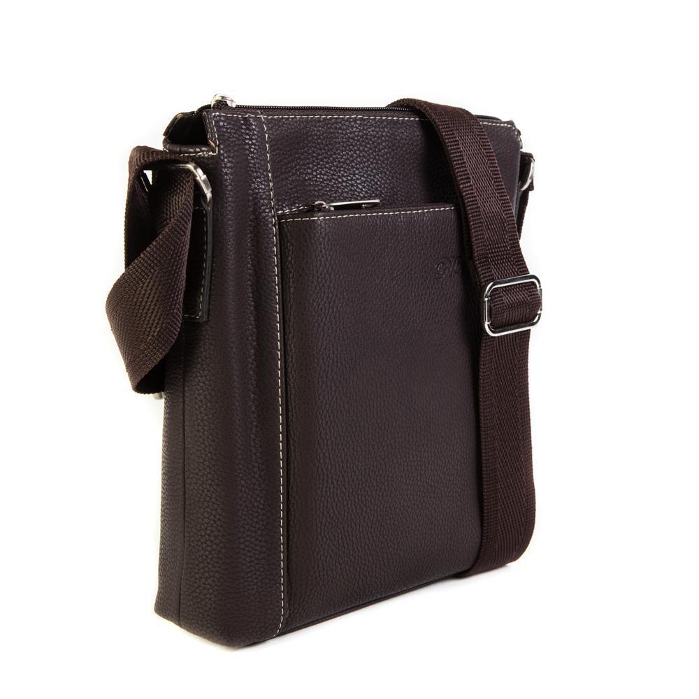 Фото мужская наплечная коричневая сумка из искусственной кожи 27х22х5 см Paulo Valenti TK-S73