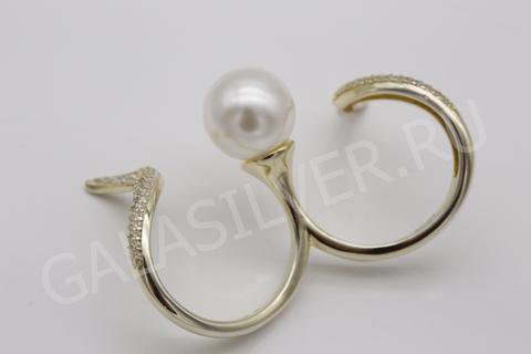 Кольцо с майоркой и цирконом из серебра 925