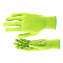 Перчатки Нейлон, ПВХ точка, 13 класс, цвет изумрудный, L Россия
