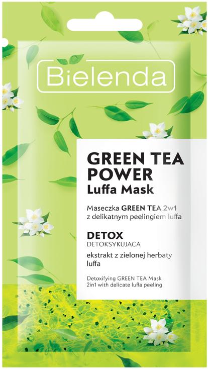 Luffa Mask Green Tea 2in1 с детоксифицирующим пилингом скрабом, 8 г