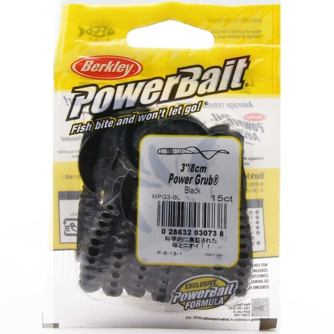 Приманка силиконовая Berkley Powerbait Power Grub MPG3-BL Black 3