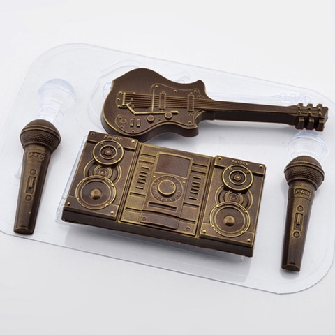 Пластиковая форма для шоколада  ср. МУЗЫКАЛЬНЫЙ НАБОР (колонки 100х55мм, гитара 135х55мм, микрофон 70х20мм)