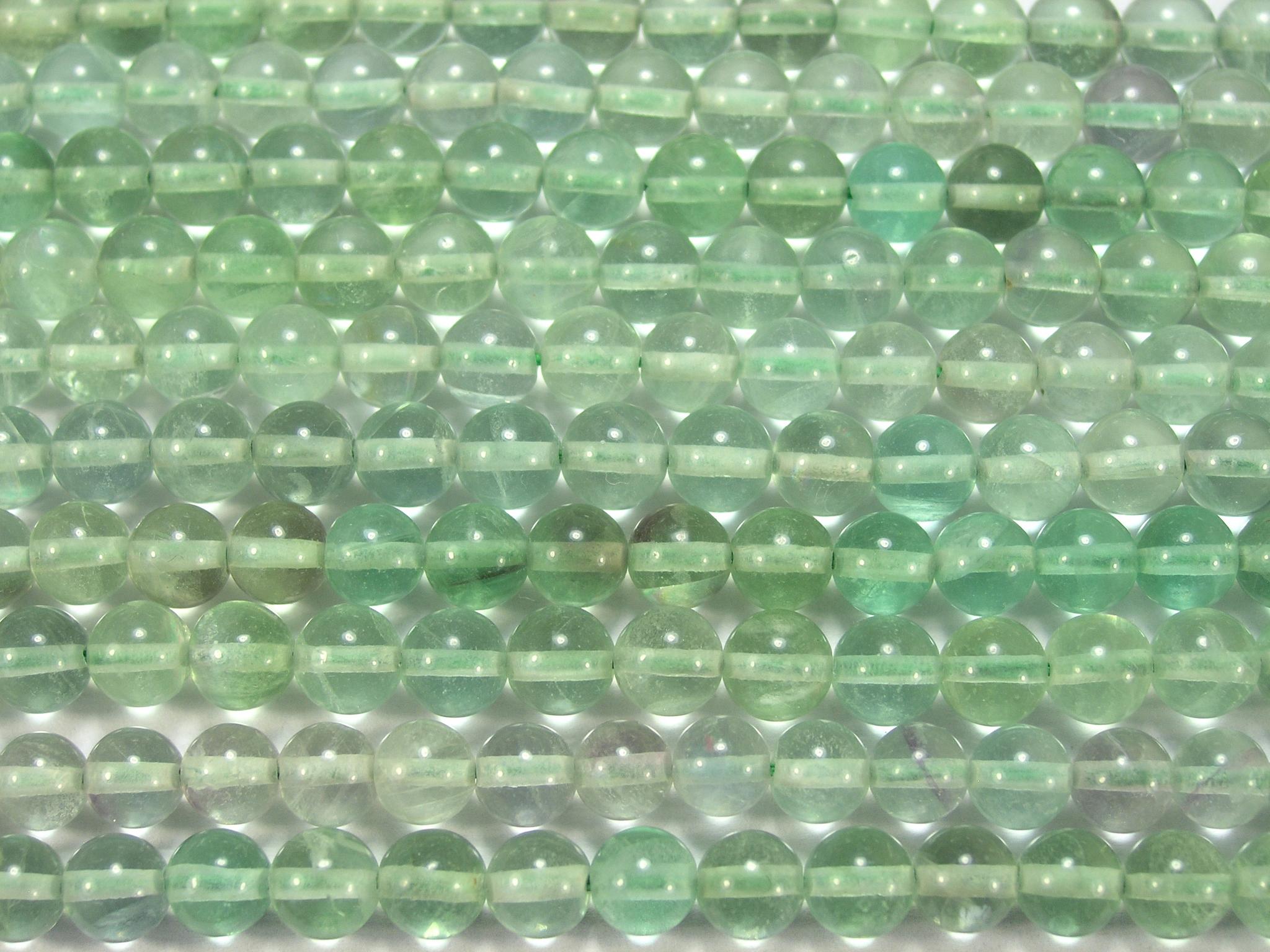 Нити бусин из флюорита зеленого, шар гладкий 6мм (оптом)