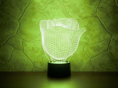 3D светильник Бутон розы