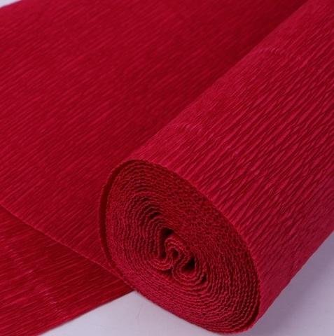 Бумага гофрированная, цвет 586 вишневый, 180г, 50х250 см, Cartotecnica Rossi (Италия)