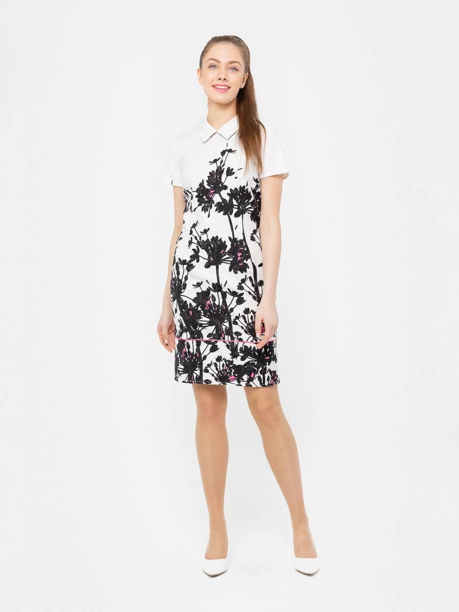 Платье З083-528 - Платье-футляр приталенного силуэта из жаккардового хлопка. Благодаря эластичной ткани и выверенным лекалам, платье отлично сидит на фигуре любого типа.