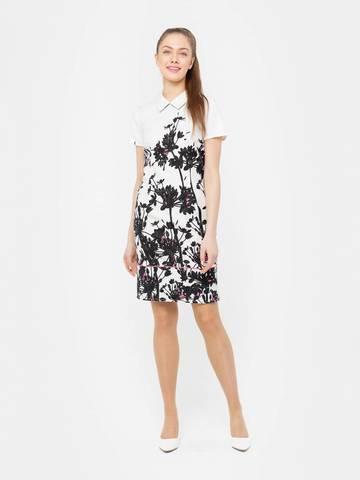 Фото хлопковое приталенное платье-футляр с цветочным принтом - Платье З083-528 (1)