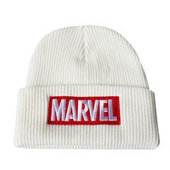 Вязаная шапка с отворотом и вышивкой Marvel (Марвел), белая