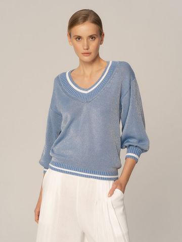 Женский джемпер светло-голубого цвета из хлопка - фото 2