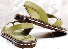 Кожаные женские босоножки сандали на резинках Evromoda 454-411 Olive.