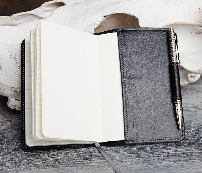 BC136-1 Кожаный блокнот ручной работы со сменным блоком (А6) фото 09