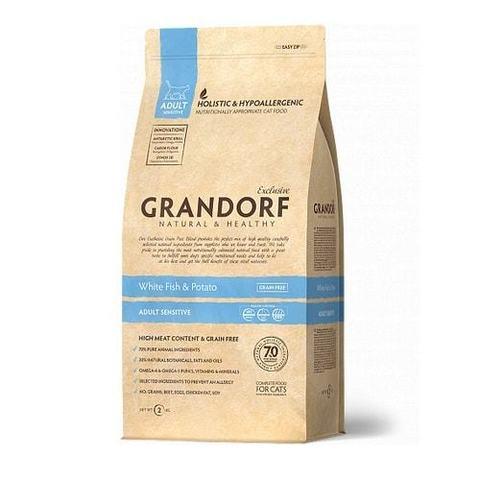 2 кг. GRANDORF Сухой беззерновой корм для взрослых кошек с белой рыбой и бататом White Fish&Potato Adult Sensitive