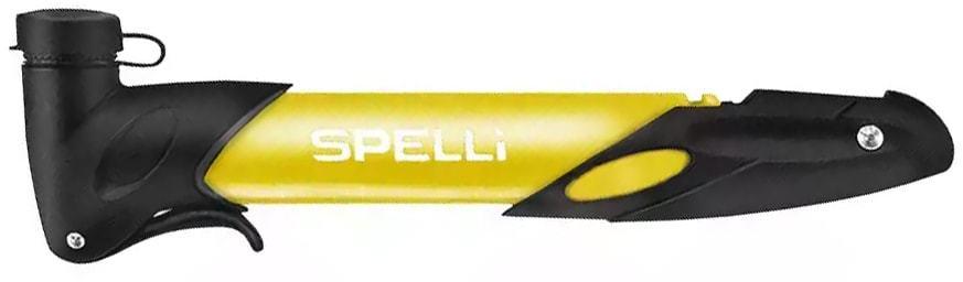 Маленький ручной насос для велосипеда Spelli (SPM-177) с креплением к раме в комплекте (желтый)