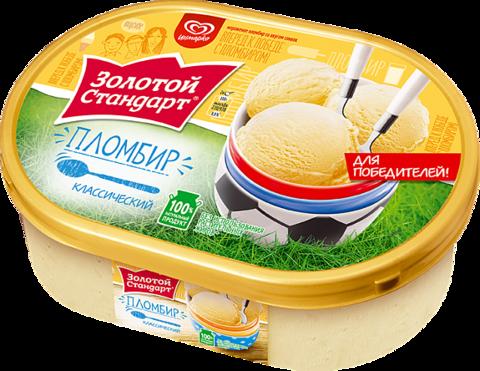 "Мороженое ""Золотой стандарт"" пломбир классический 475г контейнер"