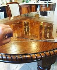 Скатерть мягкое стекло на овальном столе