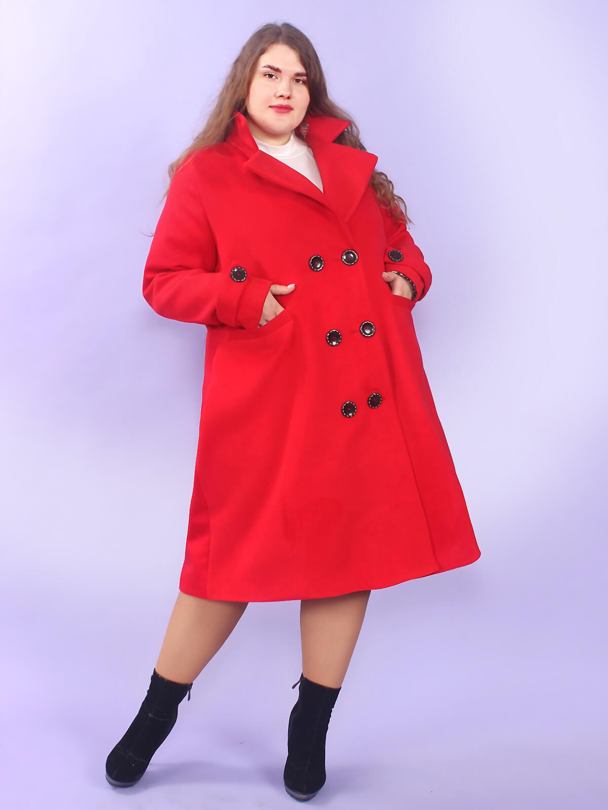Кашемировое модное пальто большого размера красное