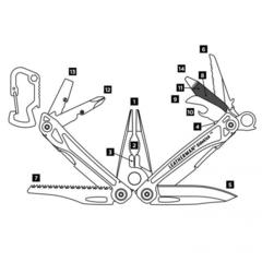 Мультитул Leatherman Sidekick + карабин, 14 функций, чёрный нейлоновый чехол (831439) | Multitool-Leatherman.Ru
