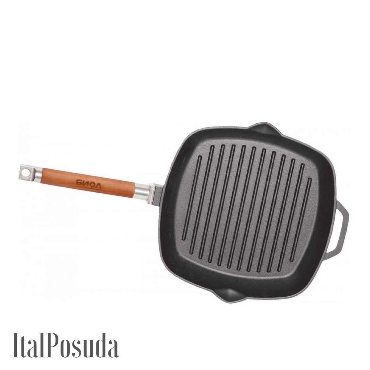 Сковорода Гриль БИОЛ чугунная 28х28 см со съемной ручкой