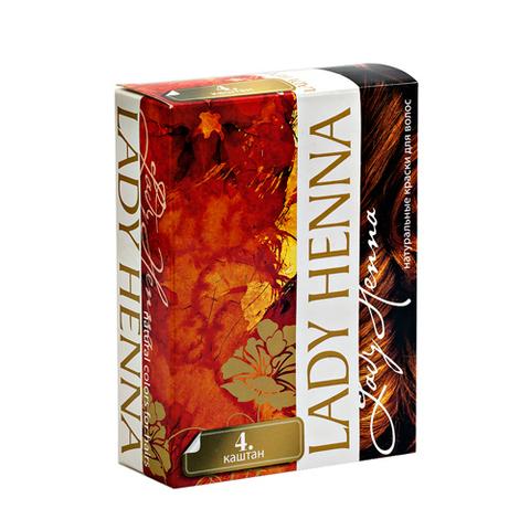 Краска на основе хны #4 КАШТАН | 60 гр | Lady Henna