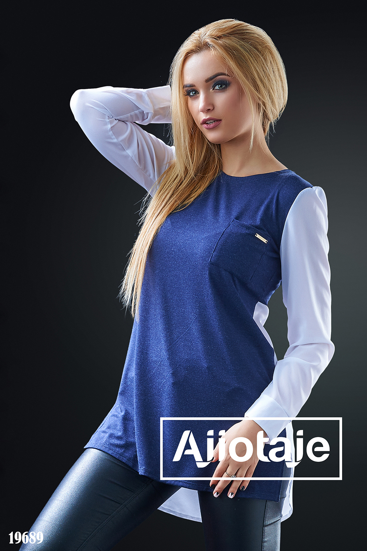 Комбинированная блузка с асимметрией