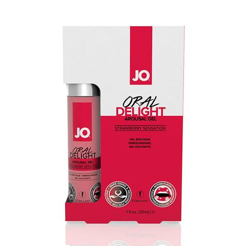 JO Oral Delight Strawberry Sensation Стимулирующий гель для оральных ласк с десенсибилизацией клубничный