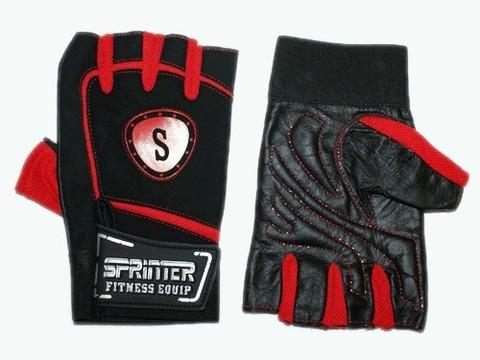 Перчатки для тяжёлой атлетики с напульсником. Цвет: красно-чёрный. Материал: кожа, замша, ткань. Размер M. :(B):