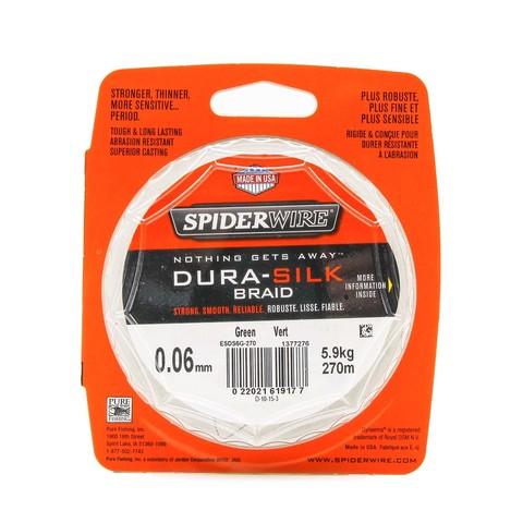 Плетеная леска Spiderwire Dura-Silk Green 270м, 0,06мм, 5,9кг
