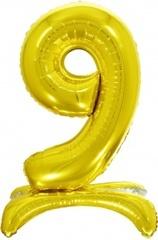 К Шар цифра (32''/81 см) , 9 на подставке, Золото, 1 шт. в упак.