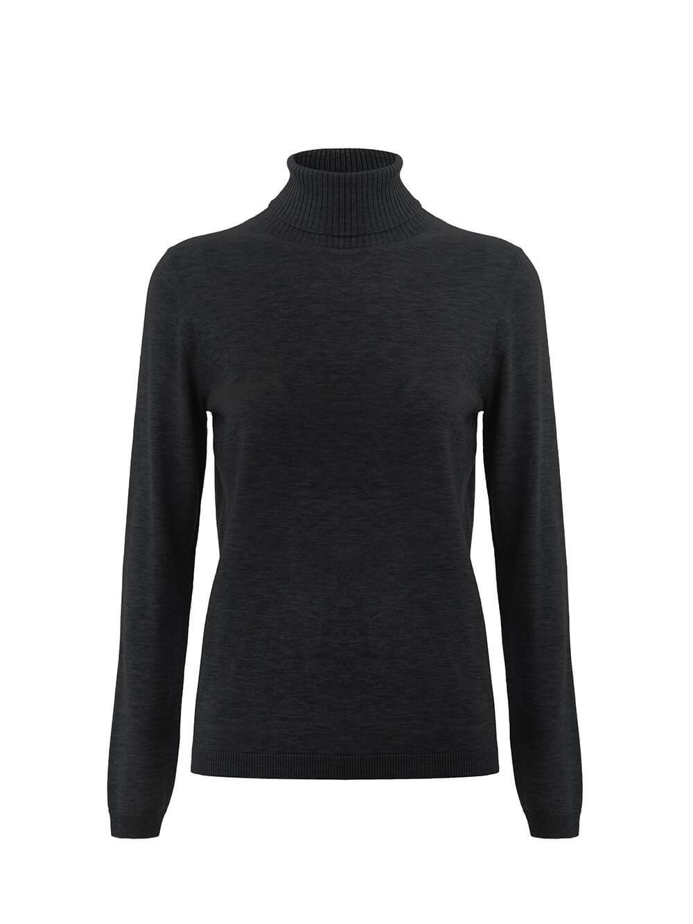Женский свитер черного цвета из шерсти и шелка - фото 1
