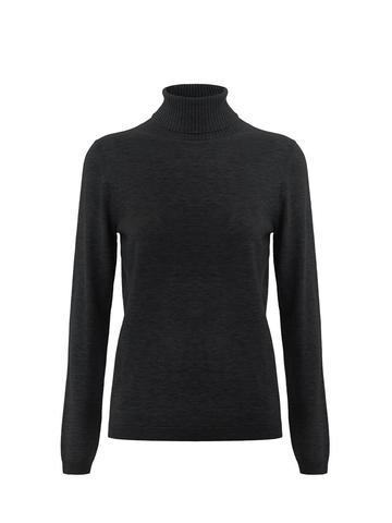 Женская водолазка черного цвета из шерсти и шелка - фото 1