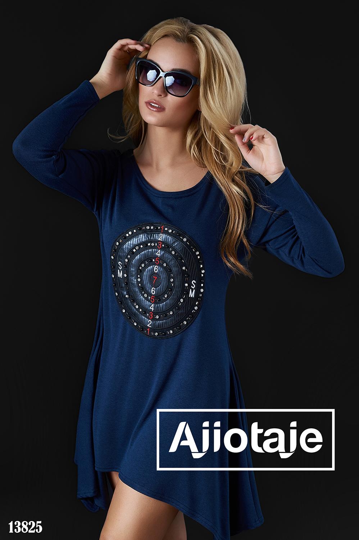 Платье-туника с асимметрией темно-синего цвета