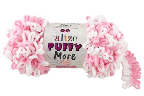Купить Пряжа Пуффи Море цвет 6267 белый-розовый | Интернет-магазин пряжи «Пряха»