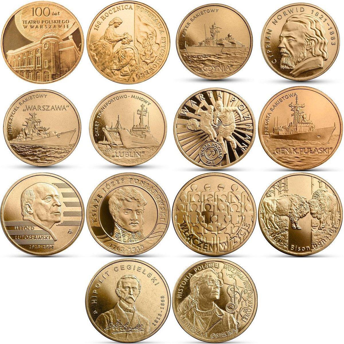 Набор из 14 монет номиналом 2 злотых. Годовой набор. 2013 год, Польша. UNC