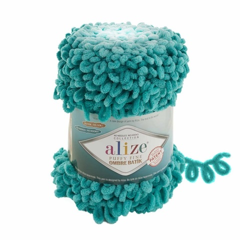 Пряжа Alize Puffy Fine Ombre Batik цвет 7246