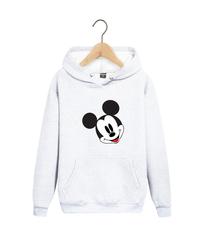 Толстовка белая с капюшоном (худи, кенгуру) и принтом Микки Маус (Mickey Mouse) 002