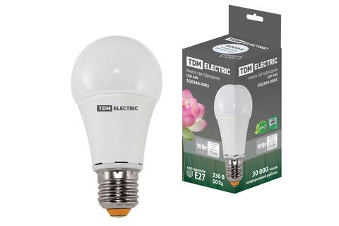 Лампа светодиодная А60 - 10 Вт-220 В -4000 К–E27 TDM