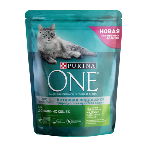 Purina One Indoor Сухой корм для домашних кошек Индейка и Злаки